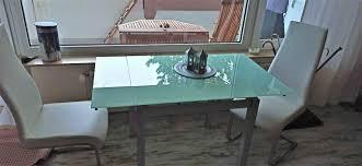 glastisch ausziehbar mit 2 swingstühle kunstleder weiß gebraucht