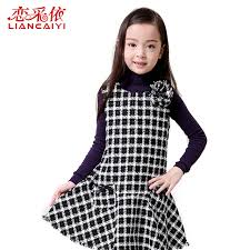 2017 Cotton Baby Girl Winter Dresses Fashion Spring Children Clothing Kids Plaid 3D Floral Party Character