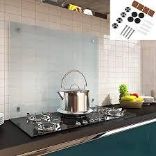 melko spritzschutz herdblende aus glas für küche herd fliesen 6 mm esg sicherheitsglas küchenrückwand inkl schrauben 80 x 50 cm milchglas
