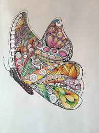 Zentangle Butterflycolored Butterflybutterfly Artwall Artink Colored Pencils