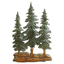 Pine Trees Wood Carving Wall Art