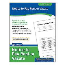 Adams Notice To Pay Rent Quit by fice Depot & ficeMax