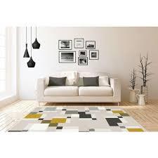 teppich modern design pixel tetris kasten flachflor creme grau gelb 120cm x 170cm