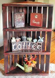 Red Rustic Wood Corner Display Shelf