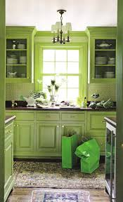 Rustic Green Kitchen Cabinet Combine With White Hanging Lamp In Mediterranean Style
