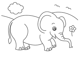 Good Cute Elephant Coloring Pages