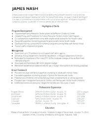 Social Worker Resume Examples Resource Template Work Sample Free