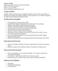 Sample Resume Profile Summary Profiles Examples For Fresh Graduate Accounting Statements