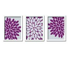 Gray And Purple Wall Art Fascinating Decor Eggplant Bedroom Canvas