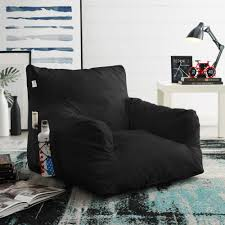 Comfy Black Foam Lounge Chair - Nylon | Indoor/ Outdoor | Self Expanding |  Water Resistant | Bean Bag Chair Eadu Armchair Lch Ergonomic Baby Tufted Recliner Chair Soft For Living Room Bedroom Wingback Comfortable Recling Lounge Chairs Sofa Kids Child Home Two Comfortable Lounge Chairs Midcentury Style Modern Accent Cushion Backrest Beautiful And From 1950 Wall Hugger Fniture Seating Pad High Grey Steel Oaksynergy Orolay Doublearch Cooper In Casual By Fairmont Designs At Dream Mid Century Large Verywood Frame
