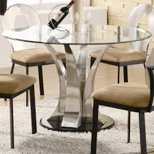 round glass dining table top with curvy silver chrome base plus
