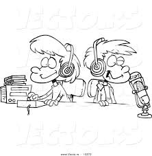 Vector Of A Cartoon Black And White Outline Design Two Kid DJs