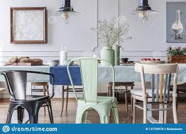 Colorful Chairs At Table In Cottage Grey Dining Room ...