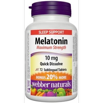 Webber Naturals Melatonin Easy Dissolve, 10 mg, 72 Sublingual Tabs