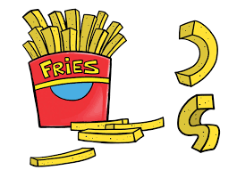 Twist and bend your french fry drawings to see how they can be e body parts for your video game character Who says you can t play with your food