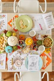 Thanksgiving Kids Table Crafts Set With Pumpkin Centerpieces And Coloring Activities