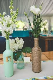 Rustic Mint Wedding Centerpieces With Wine Wrapped Bottle Himisspuff