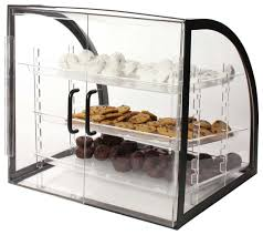 Amazon Countertop Bakery Display Case Clear Acrylic With Black Metal Frame Rear Loading Doors And 3 Removable Trays