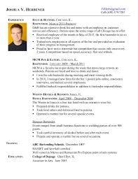 Joshua Herbener Bartending Resume