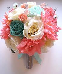 Amazon 17 Pc Wedding Bouquet Bridal Silk Flower Coral Teal