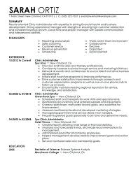 Clinic Administrator Salon Spa Fitness Clinic Manager Resume