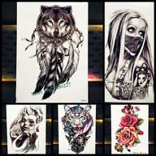 New Dreamcatcher Wolf Totem Temporary Tattoo Stickers For Women Body Art Fake Flash Dream Catcher Wings Tatoo Men Arm Leg