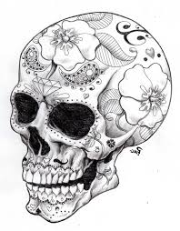 Easy Sugar Skull Day Of by Of The Dead Sugar Skull Coloring Pages