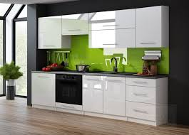 küchenzeile weiß hochglanz weiß 240 cm küche küchenblock mdf arbeitsplatte relinggriffe modern einbauküche