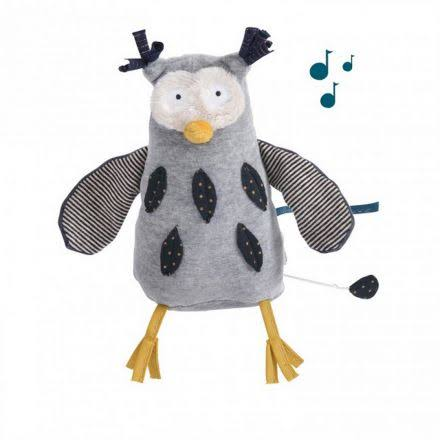 Moulin Roty Mister Owl Les Moustaches Musical Soft Toy