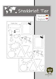 steckbrief tier animal unterrichtsmaterial in den fächern