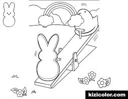 Peeps Playing Seesaw Coloring Page