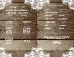 Rustic Wedding Program Template Fan Programs Wood Lace DIY Printable YOU EDIT Word Download