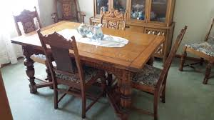 Details About Antique Dining Room Suit 6 Chairs China Cabinet Buffet ...