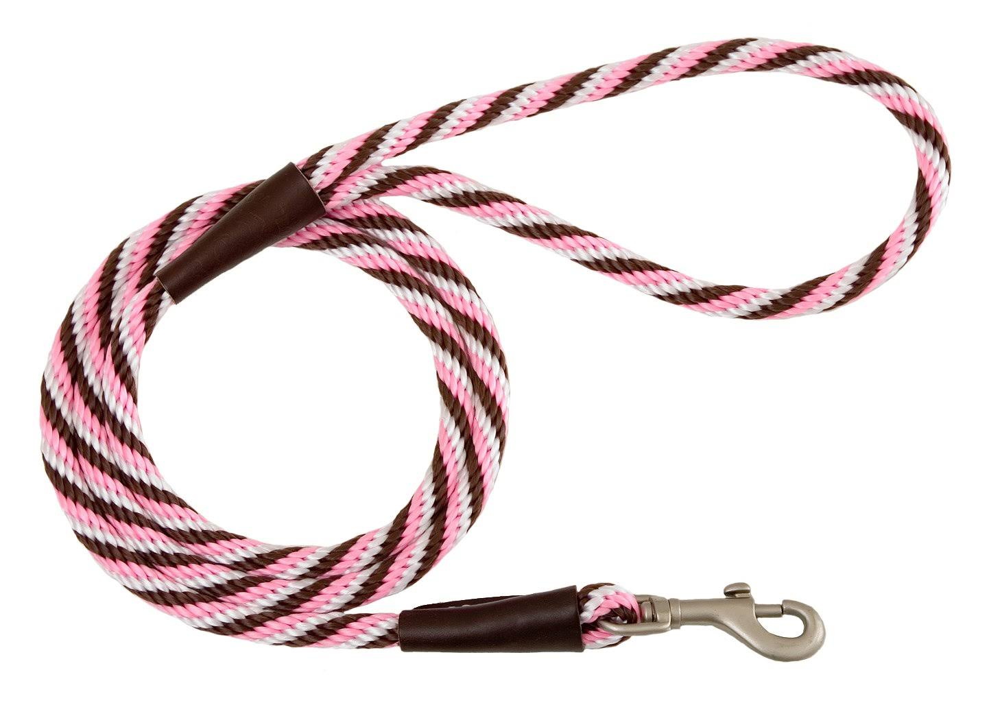 Mendota Twist Snap Leash - Pink Chocolate, 1/2in x 6ft