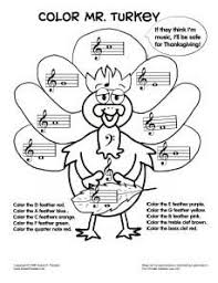 For Tin Whistle Colormrturkeybw Other Holiday Worksheets On This Site Teaching MusicKindergarten