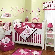 amazon com raspberry swirl 6 piece baby crib bedding set with