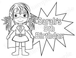 Personalized Printable SuperHero Super Hero Girl Birthday Party Favor Childrens Kids Coloring Page Book Activity PDF
