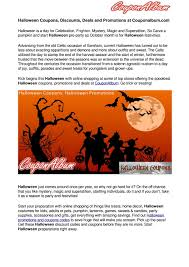 Halloween Coupons, Discounts, Deals And Promotions At ...