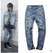Light Blue Mens Street Fashion Ripped Jeans