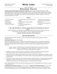 Preschool Teacher Resume Examples Samples Sample Monster Com S