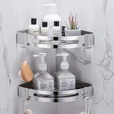hoomtaook duschregal ohne bohren duschkorb badezimmer duschecke dreieckiges eckregal duschwand duschregal keine beschädigung an wandhalterung für