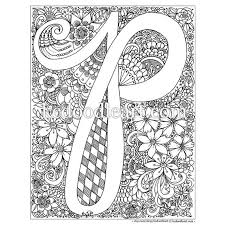 Instant Digital Download Adult Coloring Page Letter P