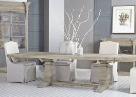 Reclaimed Gray Rectangle Dining Table With Trestle Base