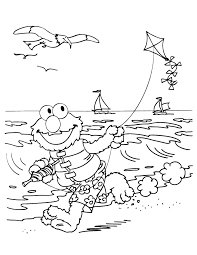 Elmo Flies Kite At Beach Coloring Page
