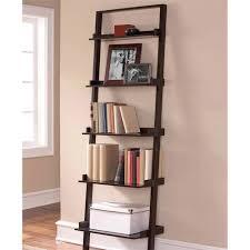 mainstays leaning ladder 5 shelf bookcase espresso walmart com