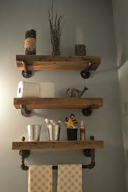 Heavy Plank Shelves With Industrial Hardware These Are Another Simple And Effective Rustic Bathroom Idea