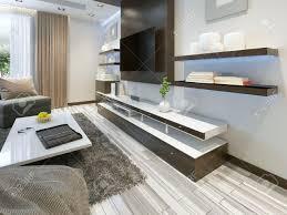 audio system mit tv und regale im wohnzimmer im modernen stil holzverblendung möbel in braun mit dekorplatten 3d übertragen