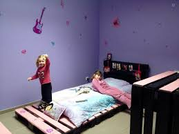 Recycled Pallet Pink And Black Toddler Bed With Headboard