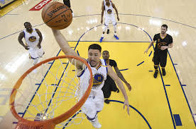 Golden State Warriors Guard Klay Thompson Goes To The Rim Against Cleveland Cavaliers During