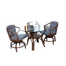 Glass Top Rattan Dining Table With Armchairs